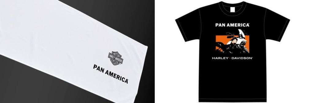 (写真左)来店試乗で貰える特製アイスタオル(数量限定非売品)と(写真右)Pan America デビューフェア向けに特別にデザインされたスタッフTシャツ(非売品)